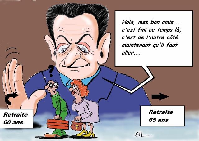 Caricature de Nicolas Sarkozy dans GALERIE PERSONNELLE sarkozyetlesretraites-640x455